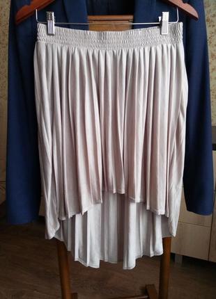 Стильная трендовая ассиметричная юбка плиссе