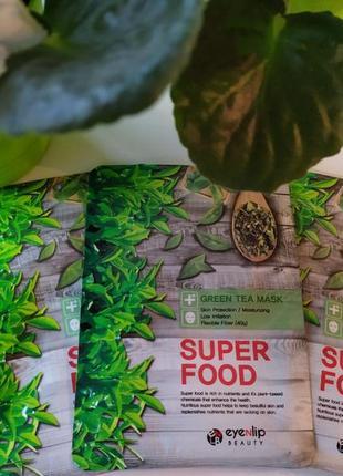 Тканевая маска для лица зеленый чай eyenlip super food green tea mask