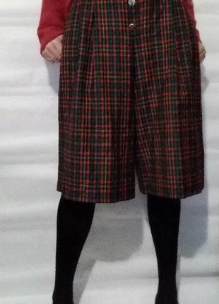 Модная юбка-брюки в клетку bardehle шерсть р.38 высокая талия