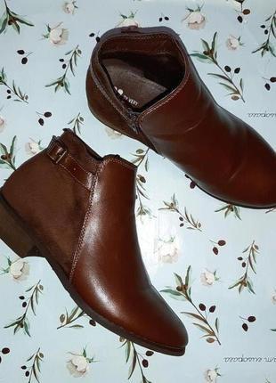 🎁1+1=3 модные кожаные полусапожки ботинки на низком каблуке by very, 37 размер