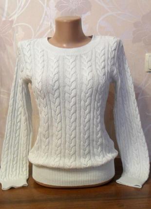 Женская белая кофта с косами h&m