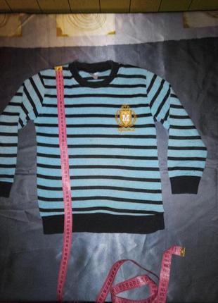 Реглан голубой в полоску для мальчика 5-7 лет