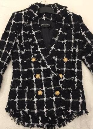 Невероятный твидовый костюмный пиджак balmain! не секонд! оригинал!размер s