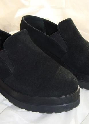 Женские черные замшевые туфли криперсы primark на платформе р37 стелька 24.1