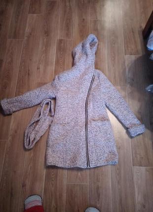 Теплое пальто на змейке с поясом зимнее