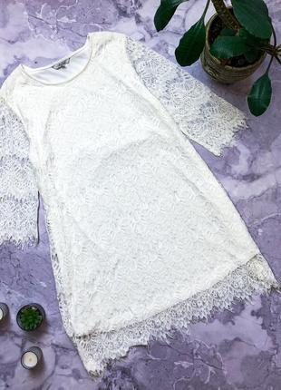 Сногсшибательное кружевное нарядное платье  айвори