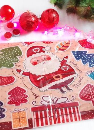 Новогодний мягкий придверной коврик с дедом морозом и елками