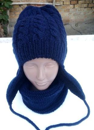 Теплющий вязаний комплект шапка, снуд