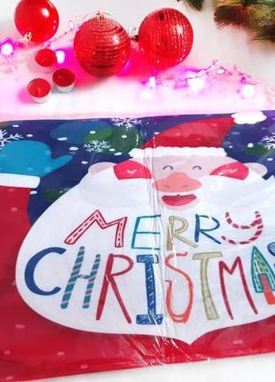 Новогодний мягкий придверной коврик merry christmas большой santa claus