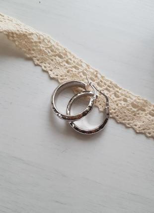 Серьги-кольца, серебро 925