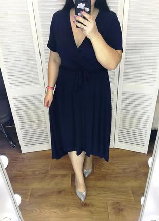 Темно-синее асимметричное платье на запах, р. 18