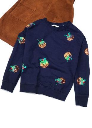 Синий свитшот с новогодним принтом и паетками