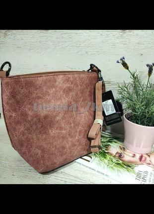 Женская сумка через плечо / повседневный клатч с меховым брелоком 564/546 розовый