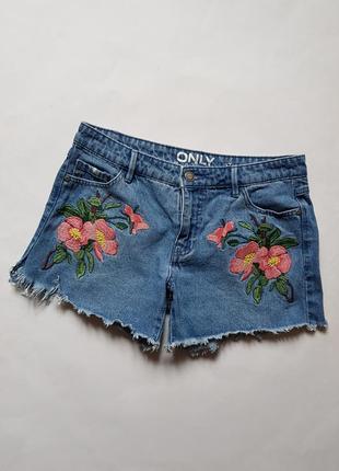 Крутые джинсовые шорты с нашивками, шорты с розами,джинсовые шорты на лето 100% хлопок