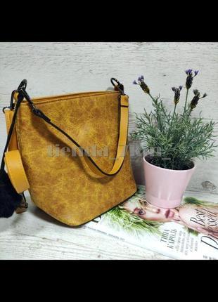 Женская сумка через плечо / повседневный клатч с меховым брелоком 564/546 желтый