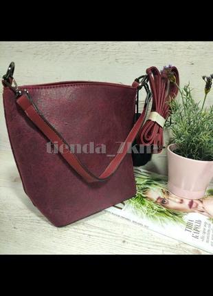 Женская сумка через плечо / повседневный клатч с меховым брелоком 564/546 бордовый
