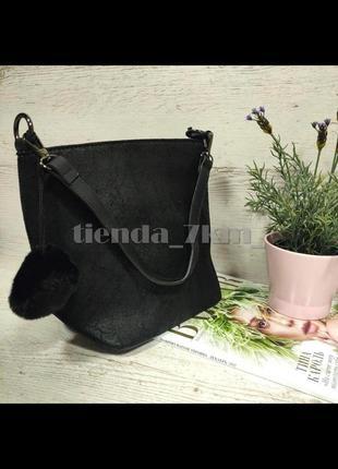 Женская сумка через плечо / повседневный клатч с меховым брелоком 564/546 черный
