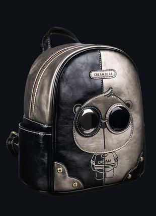 Женский черный рюкзак creambear модель c1039-4