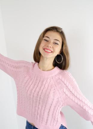 H&m свободный укороченный нежный хлопковый джемпер, кофта вязки косами, свитер,