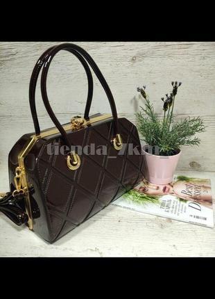Женская каркасная сумка (с железным каркасом и камнями) k-91798 коричневая