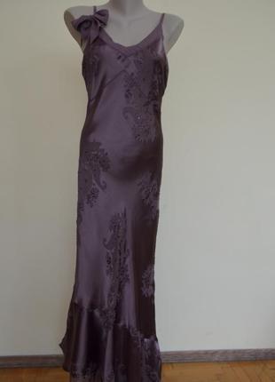 Шикарное нарядное платье натуральный шелк