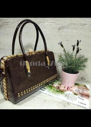 Женская каркасная сумка с замшевой вставкой и камнями k-981 коричневая