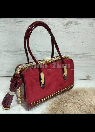 Женская каркасная сумка с замшевой вставкой и камнями k-981 красная