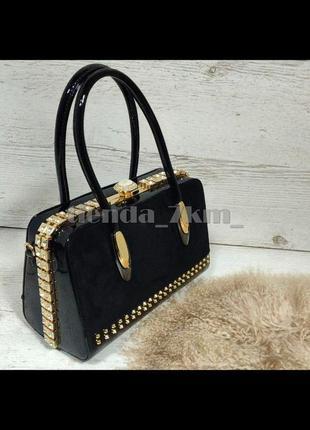 Женская каркасная сумка с замшевой вставкой и камнями k-981 черная
