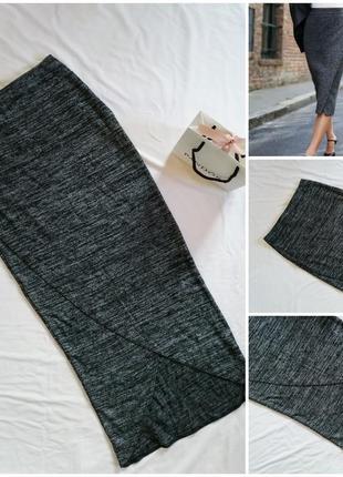 Трикотажная юбка миди-карандаш с запахом