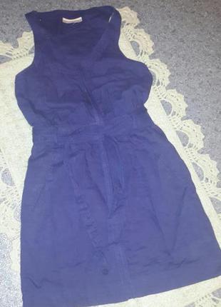 Платье на молнии льняное