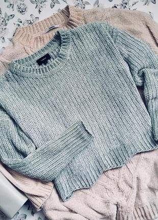 Велюровый плюшевый свитер цвета снежной мяты