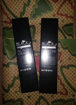 Миниатюра осветляющего и омолаживающего крема для лица mizon black snail all  - 35 мл