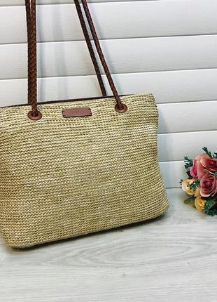 Кожаная сумка из натуральной кожи и соломки английского бренда tula