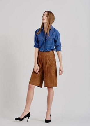 🔥🔥🔥новые, стильные женские замшевые удлиненные шорты, кюлоты gustez🔥🔥🔥