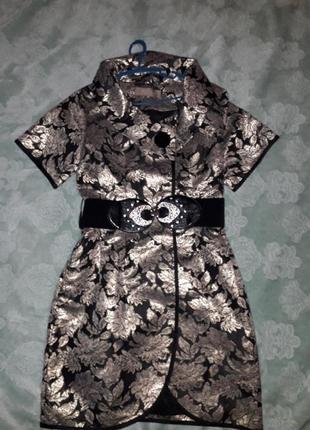 Праздничное стильное жакардовое  платье