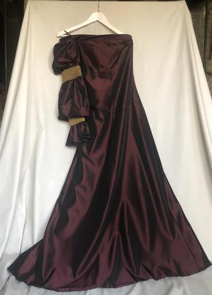 Платье gianfranco ferre винного цвета бордовое бургунди на одно плечо длинное