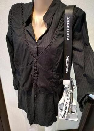 Крутая стильная тонкая рубашка блузка с жилеткой черная