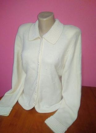 Красива  шерстяна кофтинка  з перлинками/нарядная кофточка  на пуговицы marks&spencer