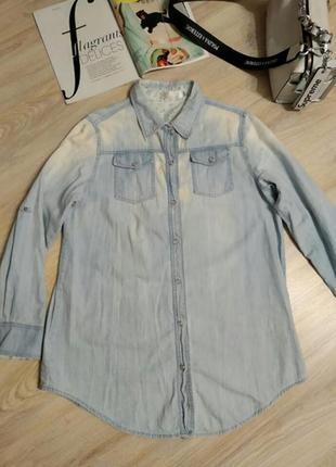 Отличная стильная тонкая джинсовая рубашка