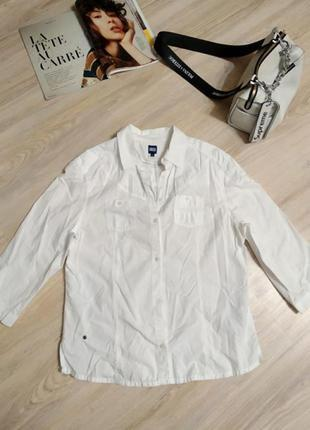Отличная базовая белая рубашка блузка хлопок