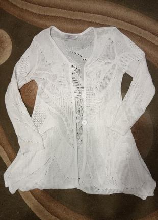 Стильная, ажурная, нарядная кофта, кардиган белого цвета.