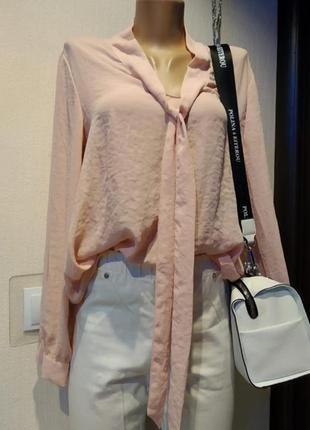 Брэндовая блузка рубашка кофточка тончайшая пудрово-розового цвета