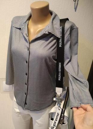 Стильная брэндовая рубашка блузка в клетку гусиные лапки короткая