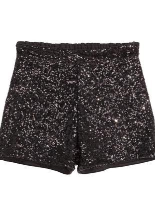Шорты в пайетках черного цвета h&m черные шорты расшитые пайетками