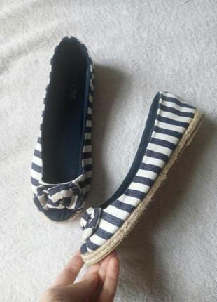 Балетки мокасины туфли текстиль коттон синие  белые полоска