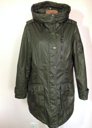 Фирменная курточка на синтепоне с капюшоном. хаки- 46/ brend reset