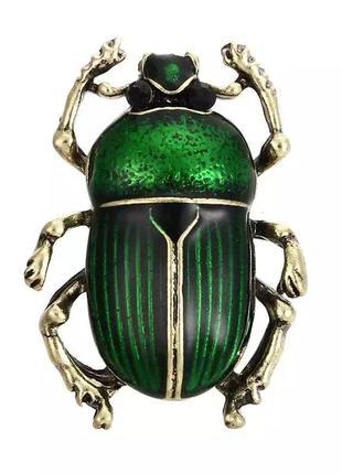 Стильная брошь брошка жук зелёный насекомое