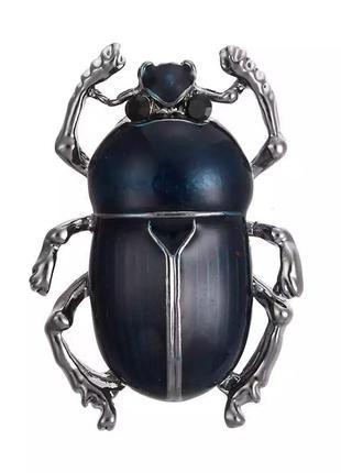 Стильная брошь брошка жук синий насекомое