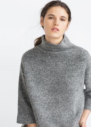 Плотный серый свитер с цельнокроеной горловиной zara итальянская пряжа с шерстью альпаки