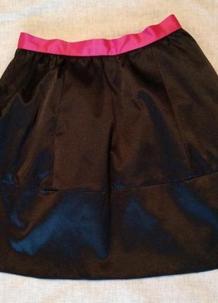 Нарядная атласная черная юбка, рост 160
